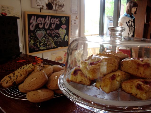 Raspberry white chocolate blondies at Jumping Tangents little brown house